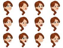 Большой комплект иллюстрации вектора милой маленькой девочки смотрит на показывать различные эмоции Стоковое Фото