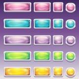 Большой комплект кнопок в размерах блестящей белой рамки различных для пользовательского интерфейса к компютерным играм и веб-диз Стоковые Фотографии RF