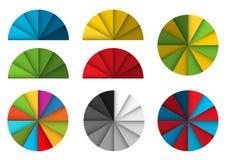 Большой комплект красочных диаграмм пирога с тенью и влиянием 3d иллюстрация вектора
