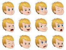 Большой комплект милого мальчика смотрит на показывать различную иллюстрацию вектора эмоций Стоковые Изображения RF