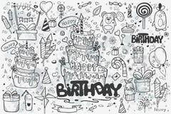 Большой комплект нарисованных вручную doodles к дню рождения иллюстрация вектора