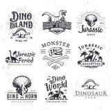 Большой комплект логотипа вектора динозавра Концепция иллюстрации футболки трицератопс Стоковые Фотографии RF