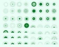 Большой комплект ретро форм взрыва Солнця Винтажный логотип, ярлыки, значки Стоковые Фотографии RF