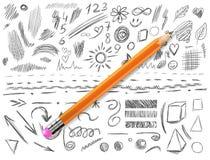 Большой комплект 105 рук-сделанных эскиз к элементов дизайна, иллюстрация ВЕКТОРА изолированная на белизне Серые линии scribble с Стоковое фото RF