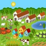 Большой комплект сельских элементов фермера Поля, животные, заводы Стоковое фото RF