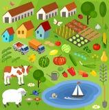 Большой комплект сельских элементов фермера Стоковое Изображение