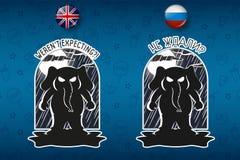 Большой комплект стикеров в английских и русских языках Слон Вектор, шарж Бесплатная Иллюстрация