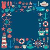 Большой комплект с doodle отображает о моде и перемещении пляжа Стоковое Изображение RF