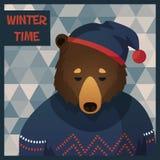 Большой коричневый медведь битника в свитере иллюстрация вектора