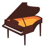 Большой коричневый рояль с открытой верхней иллюстрацией иллюстрация вектора