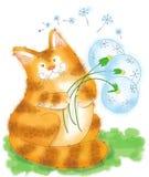 Большой кот имбиря и букет одуванчиков Стоковая Фотография