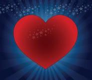 большой красный цвет сердца иллюстрация штока