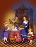 большой обед детей есть пиццу мати отца семьи иллюстрация вектора