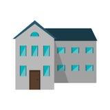 Большой дом и дверь много окон коричневая Стоковое Изображение RF