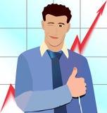Большой палец руки бизнесмена вверх на графиках предпосылки Стоковое фото RF