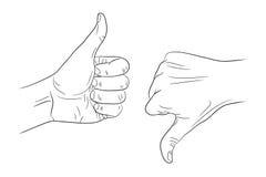 Большой палец руки вверх по большому пальцу руки вниз конспектирует контур Стоковое Изображение RF