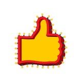Большой палец руки вверх по знаку с накаляя светами Как символ ретро плиты Ha Стоковое Фото