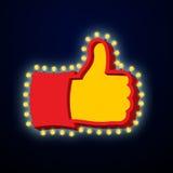 Большой палец руки вверх по знаку с накаляя светами Как символ ретро плиты Ha Стоковое Изображение RF