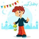 Большой палец руки вверх по молодому мальчику празднуя Рамазан иллюстрация вектора