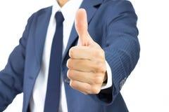Большой палец руки выставки бизнесмена вверх изолированный на белой предпосылке Стоковые Фотографии RF