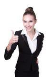 Большой палец руки выставки бизнес-леди вверх Стоковое Фото