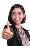Большой палец руки поздравлению коммерсантки вверх Стоковые Фото
