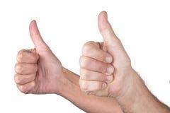 Большой палец руки человека и женщины вверх Стоковая Фотография