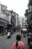 Большой переход на мотоцилк, Ханой, Вьетнам Стоковые Фотографии RF