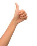 большой пец руки руки вверх по женщине Стоковые Изображения RF