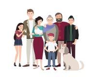 большой портрет семьи Счастливые люди с родственниками Красочная плоская иллюстрация Стоковое Изображение