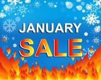 Большой плакат продажи зимы с текстом ПРОДАЖИ в ЯНВАРЕ Знамя вектора рекламы Стоковые Фото