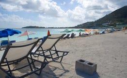 Большой пляж залива - Philipsburg Sint Maarten - карибский тропический остров Стоковое фото RF
