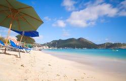 Большой пляж залива - Philipsburg Sint Maarten - карибский тропический остров Стоковые Изображения