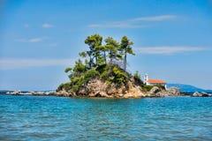 Большой пляж на греческом острове Evia Стоковая Фотография