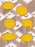 Большой равновеликий город с говорить людей иллюстрация штока