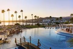 Большой роскошный бассейн с ладонями, sunbeds и небом захода солнца Стоковое Изображение