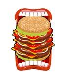 Большой рот гамбургера Сильный голод Большой бургер и открытый рот Стоковое Изображение RF