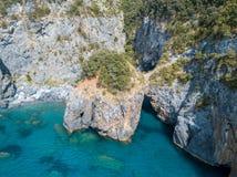 Большой свод, вид с воздуха, утес свода, Arco Magno и пляж, Сан Nicola Arcella, провинция Cosenza, Калабрия, Италия Стоковое фото RF