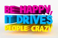 Большой смелейший текст 3D - счастливый Стоковая Фотография