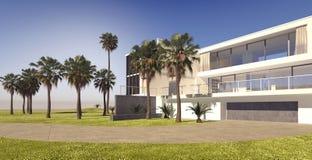 Большой современный дом мульти-этажа на роскошном имуществе бесплатная иллюстрация