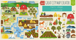 Большой создатель карты города Безшовная карта картины Деревня, ферма, coun иллюстрация штока