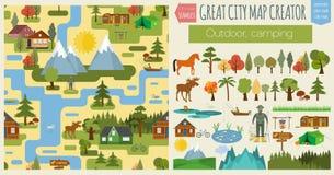 Большой создатель карты города Безшовная карта картины Располагаться лагерем, внешний, c бесплатная иллюстрация