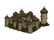 Большой средневековый замок 3D Стоковое Изображение RF