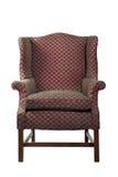 Большой стул крыла обитый в красном старом изолированном антиквариате Стоковая Фотография RF