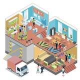 Большой торговый центр с интерьером современного магазина мебели Установленные иллюстрации вектора равновеликие бесплатная иллюстрация