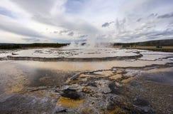Большой фонтан, национальный парк Йеллоустона Стоковое Изображение RF