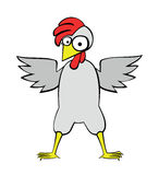 Большой цыпленок с красным гребнем Иллюстрация вектора