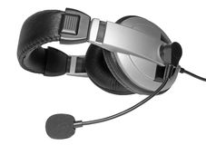 Большой шлемофон с микрофоном. Изолированный Стоковое Изображение