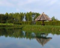 Большой экзотический зонтик на береге озера Стоковые Фотографии RF