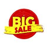 Большой ярлык круга продажи нарисованный Стоковые Фотографии RF